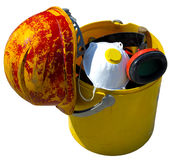Bucket with tools and construction safety equipment. Royalty Free Stock Photo