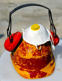 Bucket with tools and construction safety equipment. Royalty Free Stock Images