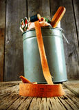 Bucket with tools for sewing. Royalty Free Stock Image