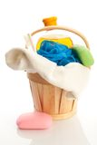 Bucket with towel, soap, showering gel and mop Royalty Free Stock Photo