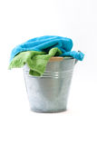 Bucket with towels Stock Photos