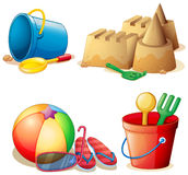 Bucket toys and sand castle Royalty Free Stock Image