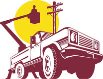 Bucket truck with lineman Royalty Free Stock Photos