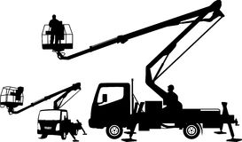 Bucket truck silhouettes Royalty Free Stock Photos