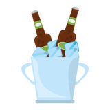 Bucket two beers cool ice design Royalty Free Stock Image