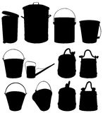 Bucket. Vector clipart depicts buckets of different shapes and in different positions. There are buckets for water, garbage can, garden watering can, wooden Royalty Free Stock Photo
