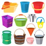 Bucket vector water full wood and metal, plastic bucketful illustration trash bin, pot isolated on white background.  Royalty Free Stock Image