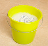 Bucket of water and cloth for cleaning Royalty Free Stock Images