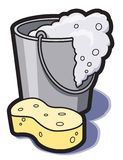 Bucket Of Water And Sponge. A bucket of soapy water and a sponge for cleaning stock illustration