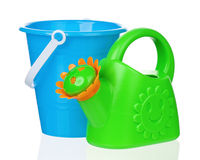 Bucket and watering can Royalty Free Stock Photo