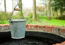 Bucket of a well. With fresh water Royalty Free Stock Photo