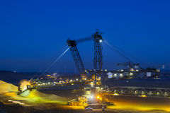 Bucket Wheel Excavator At Night Royalty Free Stock Photography