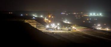 Bucket-wheel excavators at night in open-cast coal mining hambac Royalty Free Stock Photos