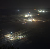 Bucket-wheel excavators at night in open-cast coal mining hambac Royalty Free Stock Image