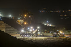 Bucket-wheel excavators at night in open-cast coal mining hambac Stock Image