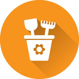 Bucket white icon. Vector illustration. Stock Image
