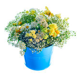 Bucket with wildflowers Royalty Free Stock Images