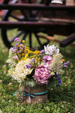 Bucket with wildflowers. Wedding decoration Royalty Free Stock Photography