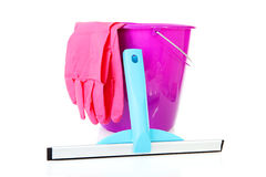 Bucket and window cleaning equipment Stock Photos