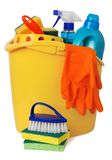 Bucket With Cleaning Supplies Stock Photo