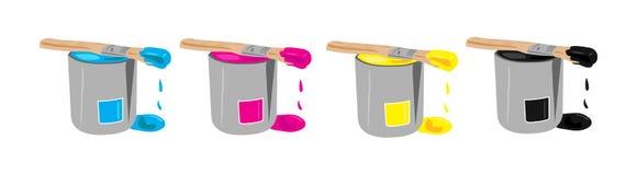 buckets краска cmyk Стоковая Фотография RF