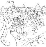 Buckets. Black-and-white illustration (coloring page): buckets filled with water themselves come to a village Royalty Free Stock Photos