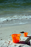 Buckets on a beach Royalty Free Stock Photo
