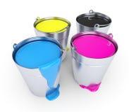 buckets cmykmålarfärg Royaltyfri Foto