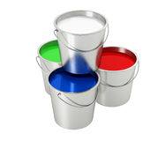 Buckets with color paint Royalty Free Stock Image