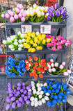 Buckets of colorful tulips in Amsterdam Stock Photo