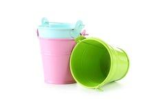 buckets färgrikt royaltyfri foto