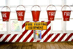 Buckets filled with sand as fire fighting equipment Royalty Free Stock Images