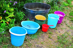 Buckets filled with water Royalty Free Stock Photos
