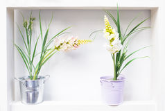 Buckets of flowers Royalty Free Stock Photography