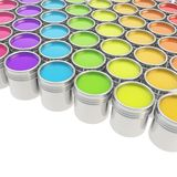 Buckets full of paint over white background