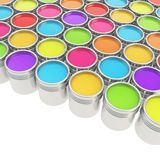 Buckets full of rainbow colored oil paint Royalty Free Stock Photography