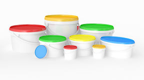 Buckets of multicolored paint. Royalty Free Stock Photo