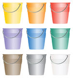 Buckets and/or Pails. Set of nine colorful buckets or pails Royalty Free Stock Photography