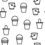 Buckets, Pails Vector Seamless Pattern stock illustration