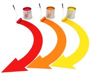 Buckets with a paint. Open buckets with a paint and rollers Royalty Free Stock Images