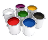 Buckets with paint. Different colors isolated with clipping path included high quality 3d model illustration Royalty Free Stock Photography