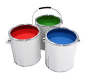 Buckets with paint. Different colors isolated high quality 3d model illustration Stock Photo