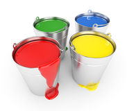 Buckets with a paint. Isolated on white Stock Photos