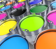 Buckets with a paint. Let's paint the world Stock Photography