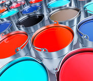 Buckets with a paint. 3d illustration Stock Photos