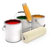 Buckets with paint and new roller for painting Royalty Free Stock Photo