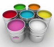 Buckets with a paint. Open buckets with a paint Royalty Free Stock Photo