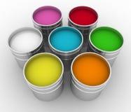 Buckets with a paint. Open buckets with a paint Royalty Free Stock Photos