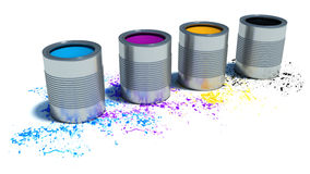 Buckets of paint. print and paint concept backgrounds Royalty Free Stock Image