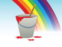 Buckets with paint and rainbow Stock Photography